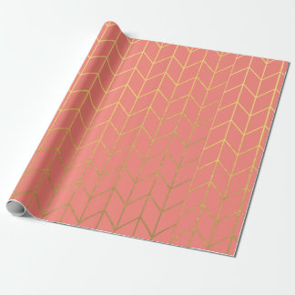 Gold Chevron Coral Pink Background Modern Chic