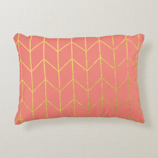 Gold Chevron Coral Pink Background Modern Chic Decorative Pillow
