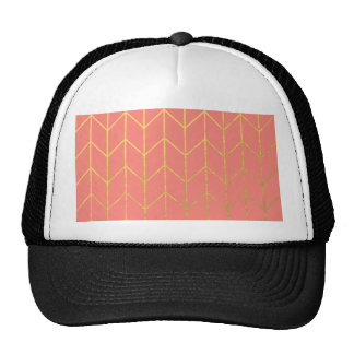 Gold Chevron Coral Pink Background Modern Chic Trucker Hats