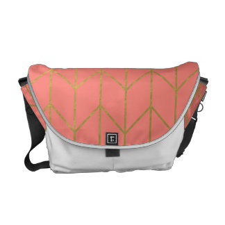 Gold Chevron Coral Pink Background Modern Chic Messenger Bag