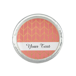 Gold Chevron Coral Pink Background Modern Chic Photo Rings
