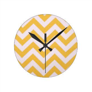 Gold Chevron Design Round Clock