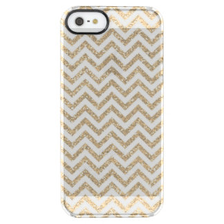 Gold Chevron Faux Glitter Clear iPhone SE/5/5s Case