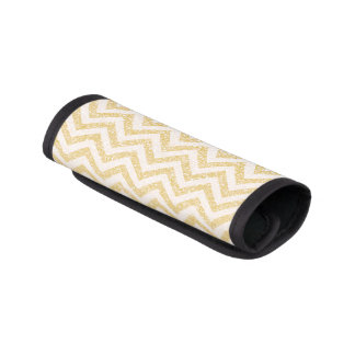 Gold Chevron Faux Glitter Luggage Handle Wrap