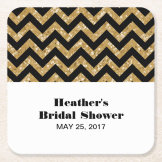 Gold Chevron Glitter Bridal Shower Coasters