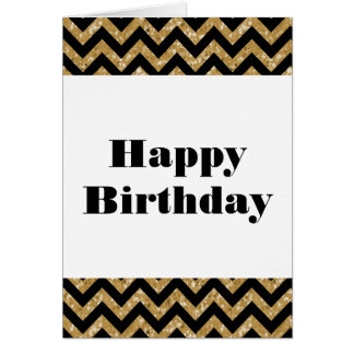 Gold Chevron Glitter Happy Birthday Card