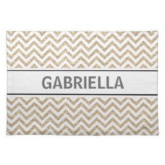 Gold Chevron Glitter Placemat