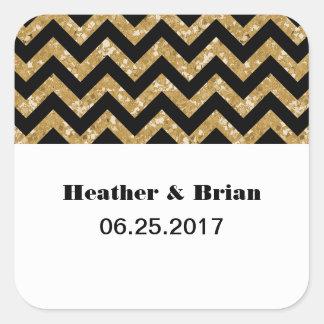 Gold Chevron Glitter Wedding Stickers