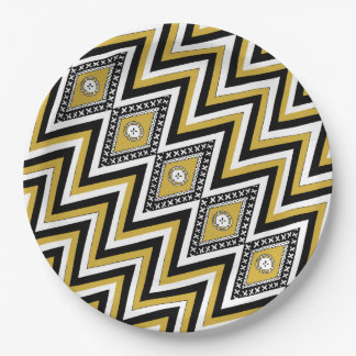 Gold Chevron Masi Paper Plates 9 Inch Paper Plate