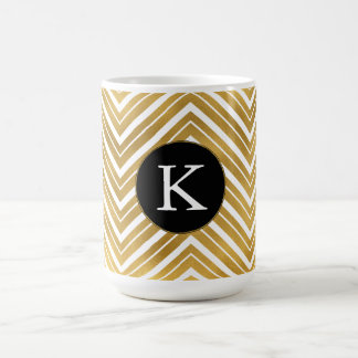 Gold Chevron Monogram Coffee Mug