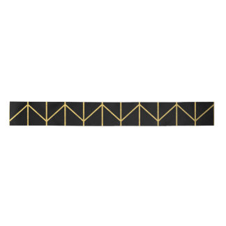 Gold Chevron on Black Background Modern Chic Satin Ribbon
