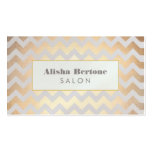 Gold Chevron Pattern Hair Salon Grey and Blue Business Card