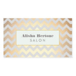 Gold Chevron Pattern Salon & Spa Grey and Blue Pack Of Standard Business Cards