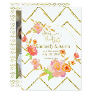 Gold Chevron Pink Floral   Save The Date Photo Card