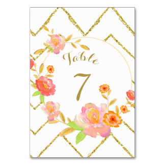 Gold Chevron Pink Floral Wedding Table Number Table Cards