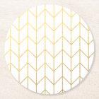 Gold Chevron White Background Modern Chic Round Paper Coaster