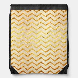 Gold Chevrons Faux Foil Glitter Background Chevron Drawstring Bag