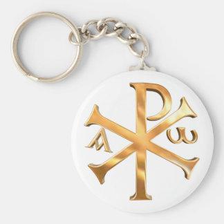 Gold Chi-Rho Basic Round Button Keychain