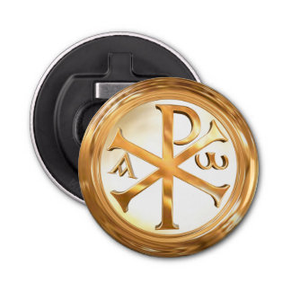Gold Chi-Rho Symbol Button Bottle Opener