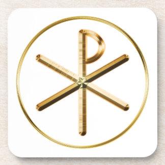 Gold Chi-Rho symbol Coaster