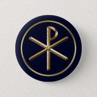 Gold Chi-Rho symbol on dark blue 2 Inch Round Button