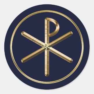 Gold Chi-Rho symbol on dark blue Classic Round Sticker