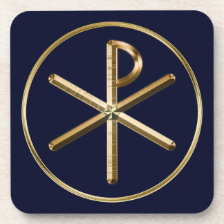 Gold Chi-Rho symbol on dark blue Coaster