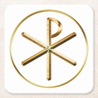 Gold Chi-Rho symbol Square Paper Coaster