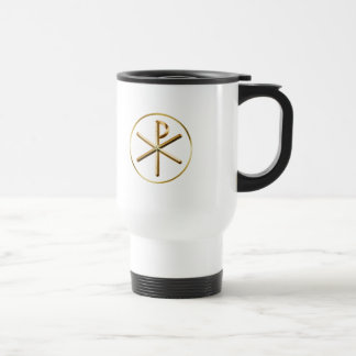 Gold Chi-Rho symbol Travel Mug