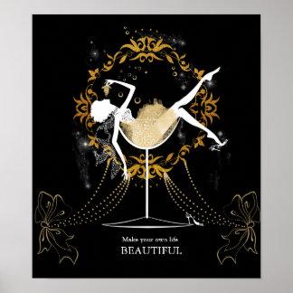 Gold chic elegant black glitter beautiful lady poster