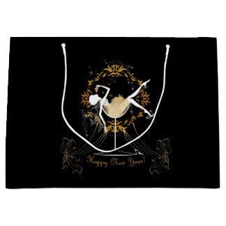 Gold chic elegant black glitter new year party large gift bag
