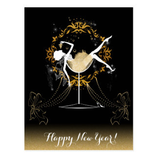 Gold chic elegant black glitter new year party postcard