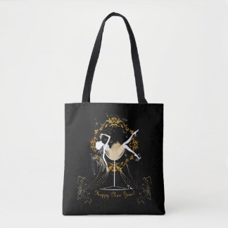 Gold chic elegant black glitter new year party tote bag