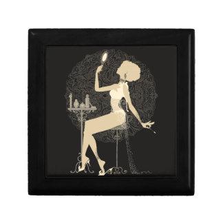 Gold chic elegant black vintage beautiful lady gift box