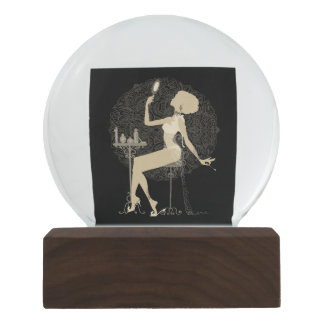 Gold chic elegant black vintage beautiful lady snow globe