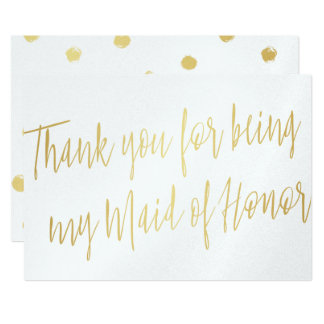 "Gold Chic ""Thank you for being my maid of honor"" Card"