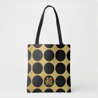 Gold Chinese Papercut Black Dots G Tote Bag