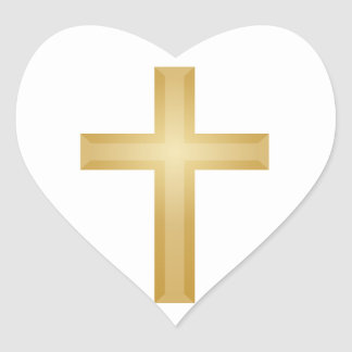 Gold Christian Cross/Easter Heart Sticker