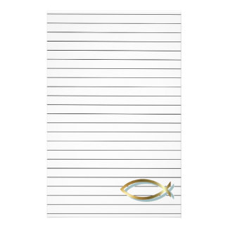 Gold Christian Fish Stationery