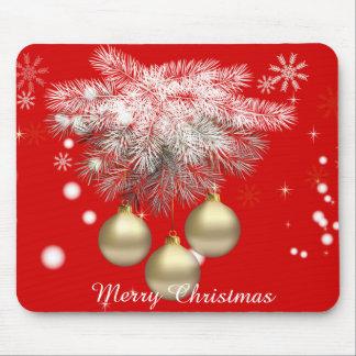Gold Christmas Balls & Silver Pine Christmas Mouse Pad