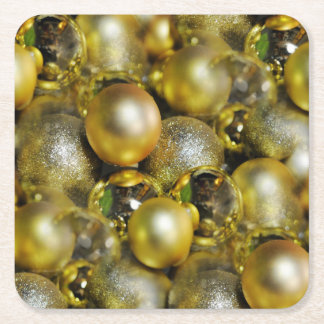 Gold Christmas Baubles Square Paper Coaster