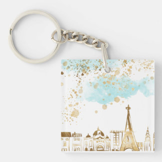 Gold Christmas City with Blue Clouds and Glitter Keychain