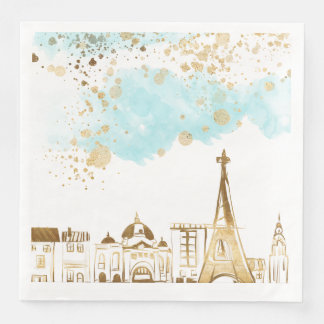 Gold Christmas City with Blue Clouds and Glitter Paper Napkins