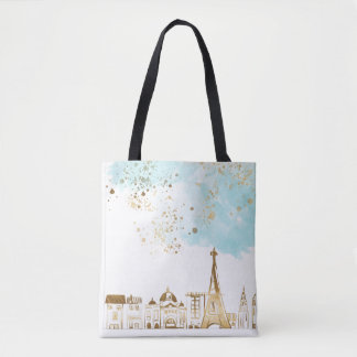 Gold Christmas City with Blue Clouds and Glitter Tote Bag