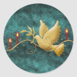 Gold Christmas dove of peace candles