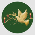 Gold Christmas dove of peace candles Classic Round Sticker