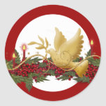 Gold Christmas dove of peace candles Round Stickers