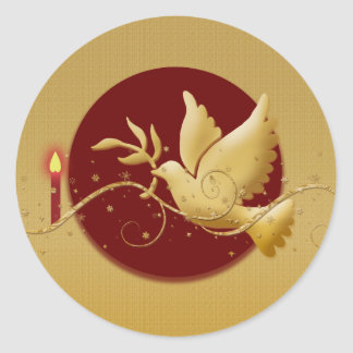 Gold Christmas dove of peace christian event stick Round Stickers