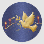 Gold Christmas dove peace candles Round Sticker