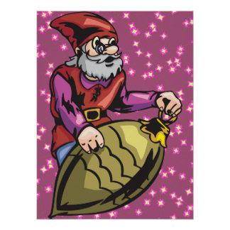 Gold Christmas Ornament and Elf Poster
